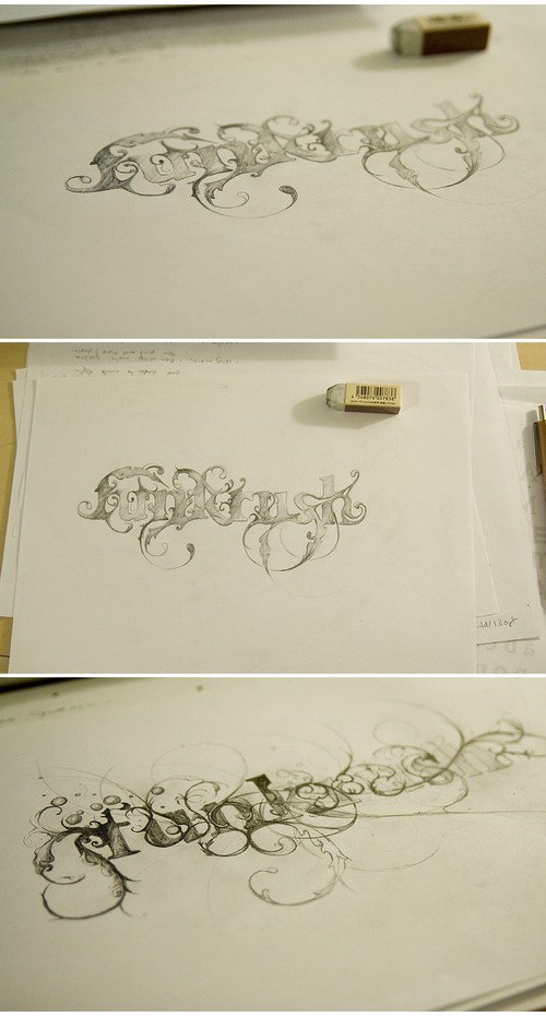 lee25 lettering pencil sketch
