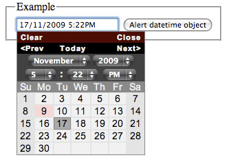 jQuery date and time picker