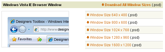 Vista IE окно браузера разных размеров