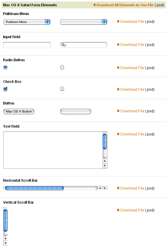 Mac OS X Safari элементы интерфейса