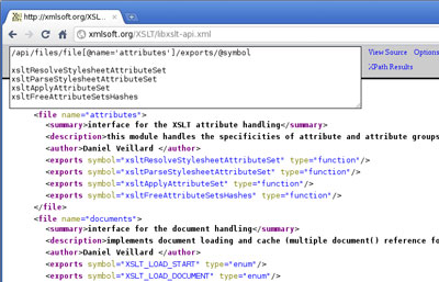 Google Chrome XML Tree