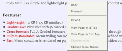 Контекстное меню Javascript